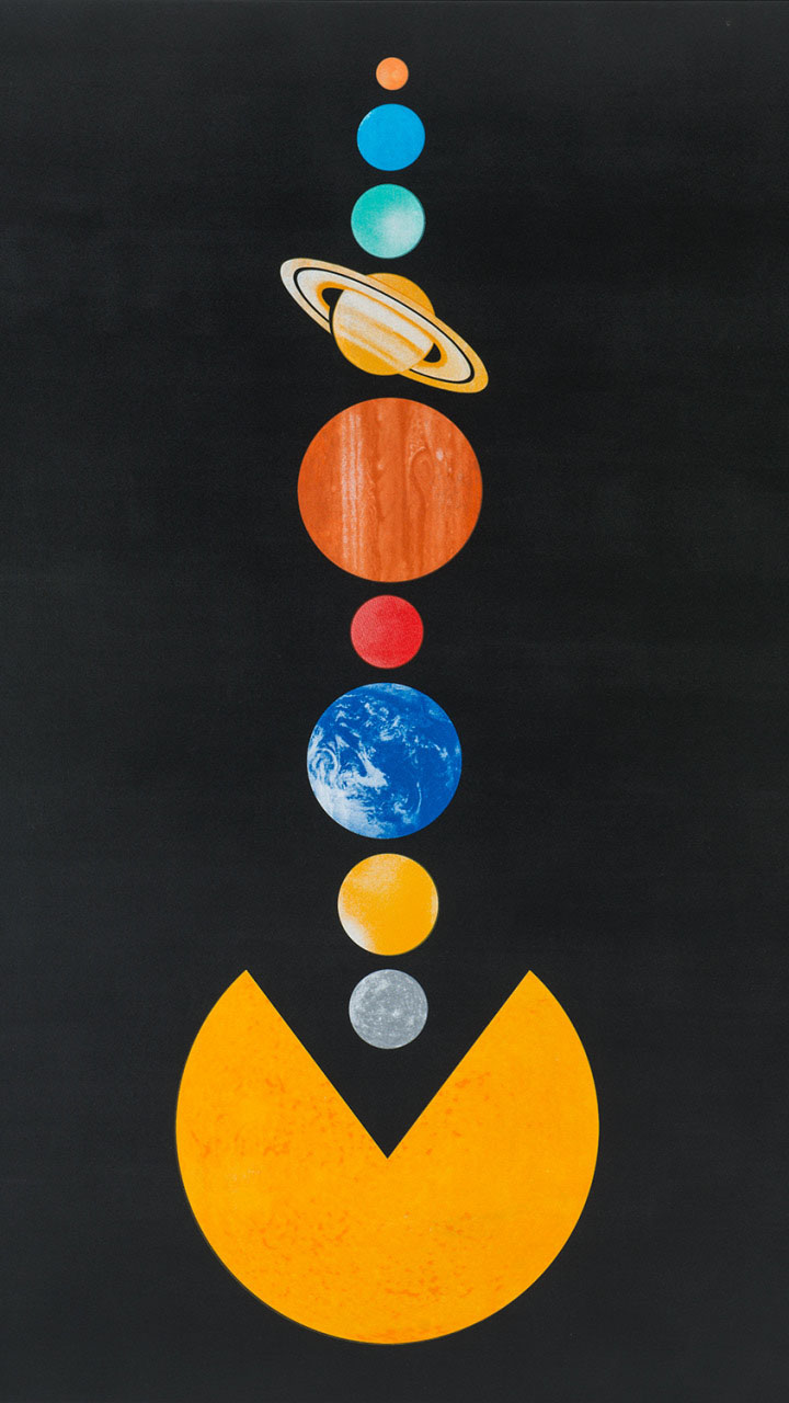 PAC MAN Solar System Planets iPhone Wallpaper