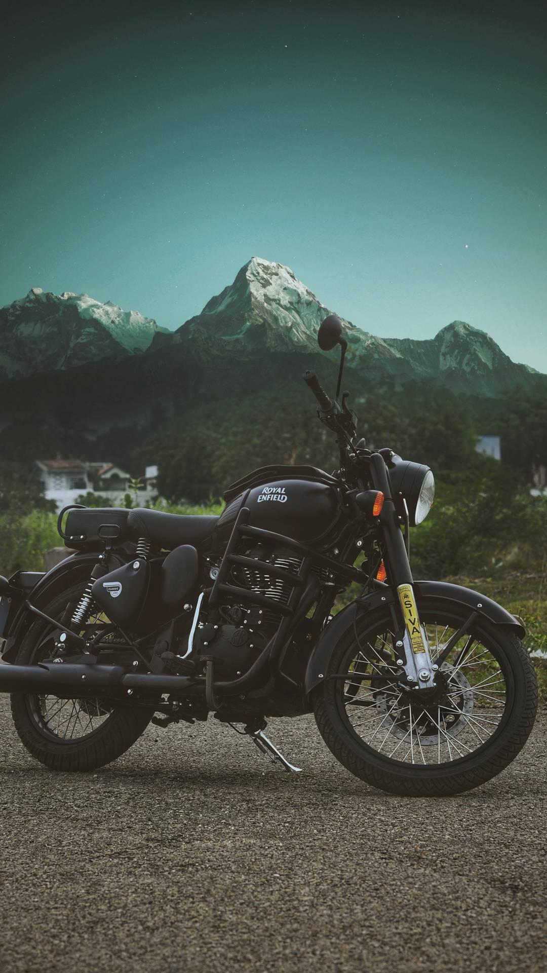 Royal enfield Stealth Black at Himalayas iPhone Wallpaper iPhone Wallpaper