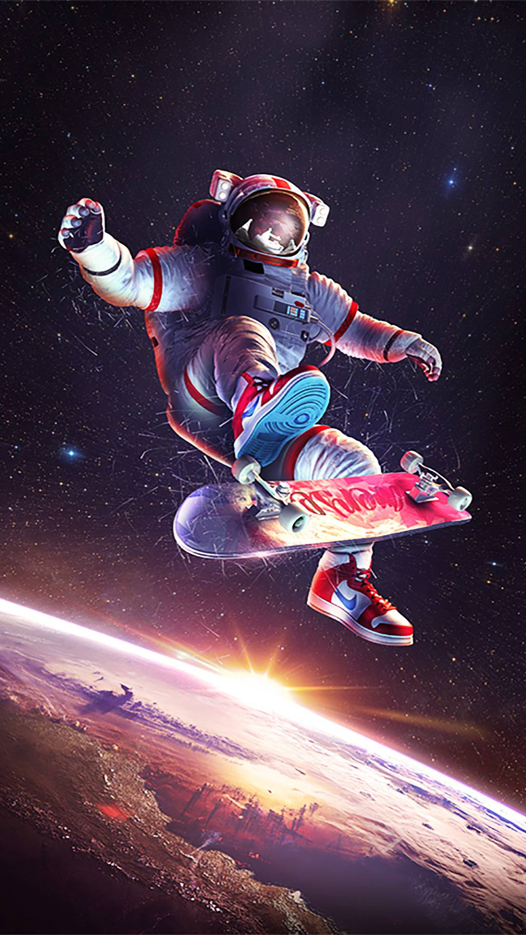 Skateboarding Astronaut iPhone Wallpaper