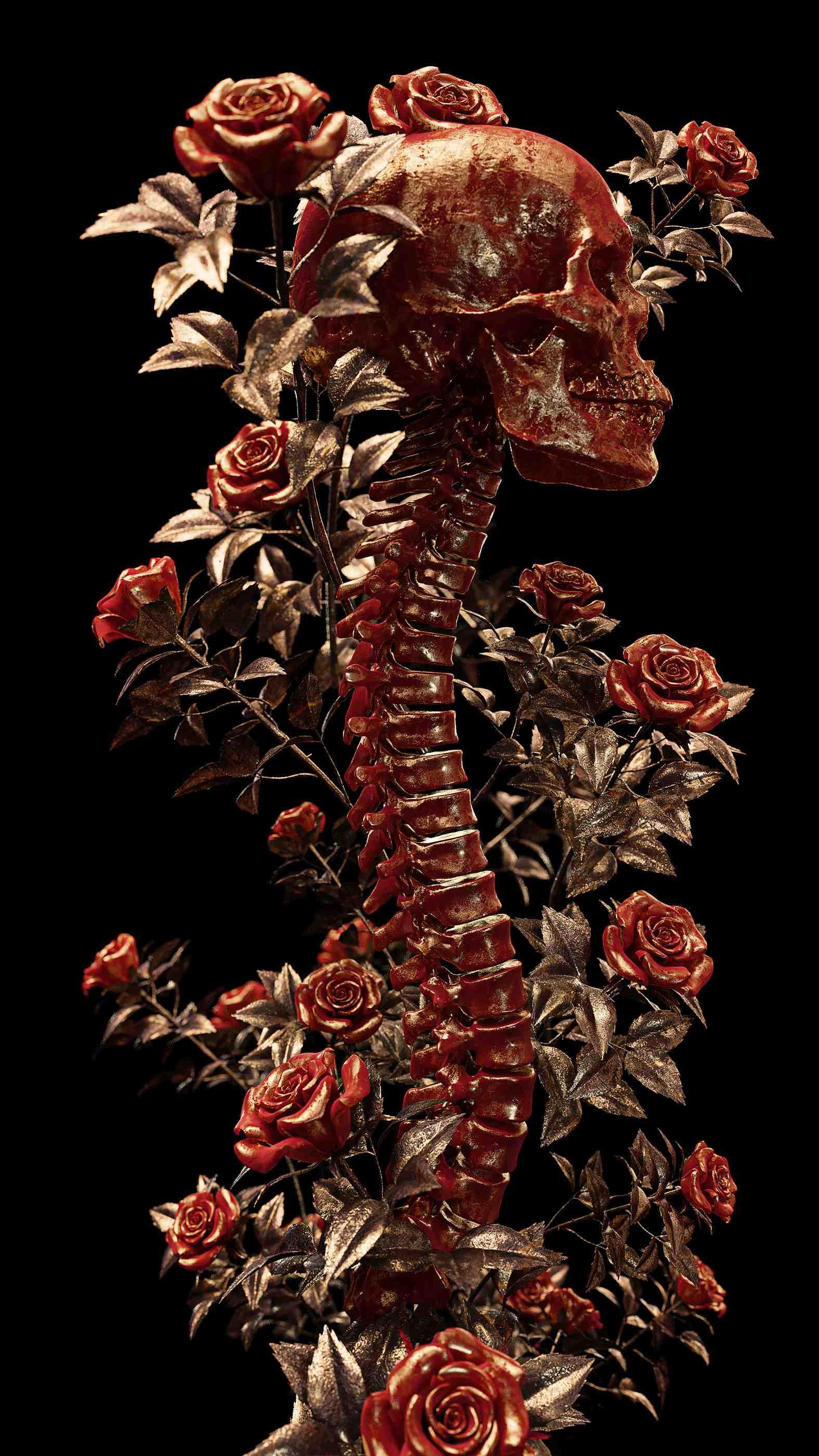 Skeleton Roses iPhone Wallpaper