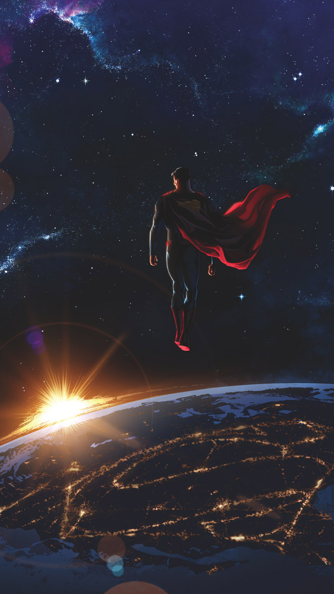 Superman in Space iPhone Wallpaper