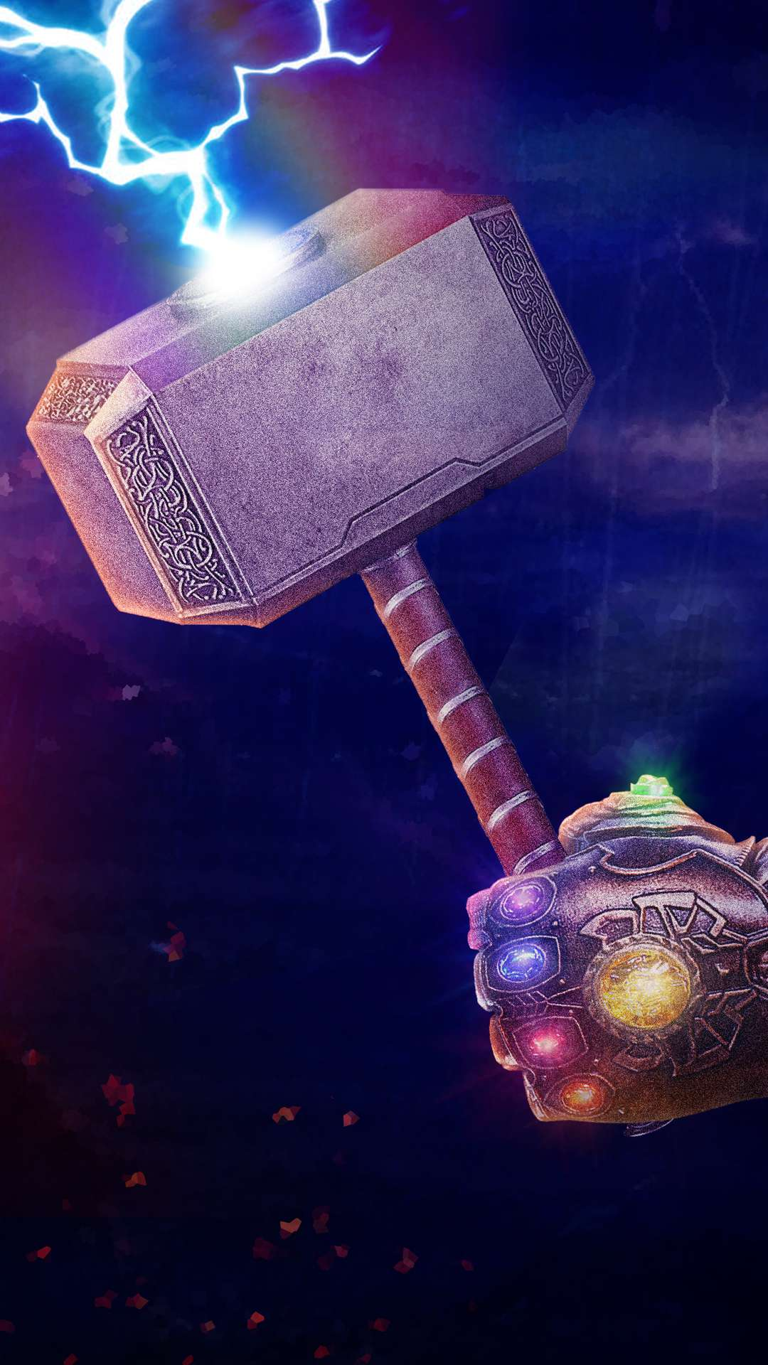 Thanos Gauntlet With Thor Hammer iPhone Wallpaper