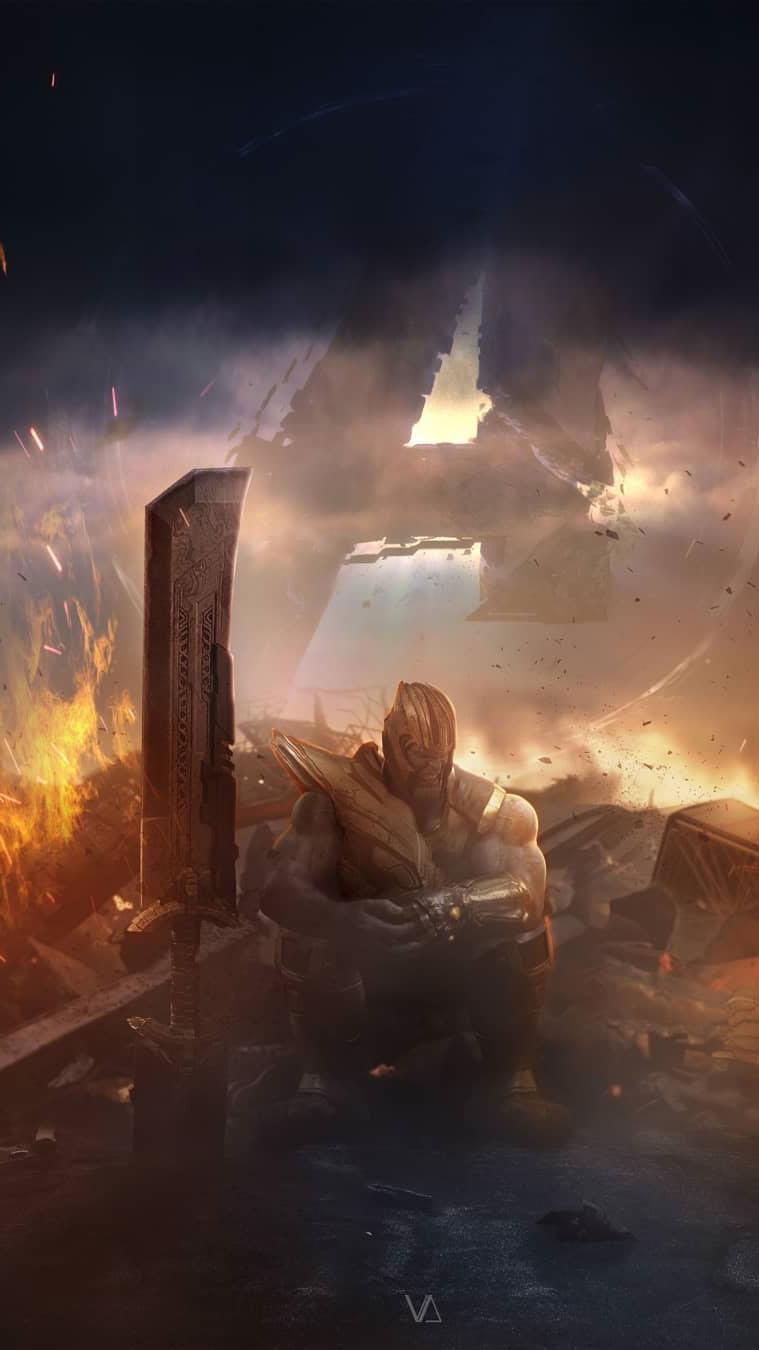 Thanos Last Fight iPhone Wallpaper