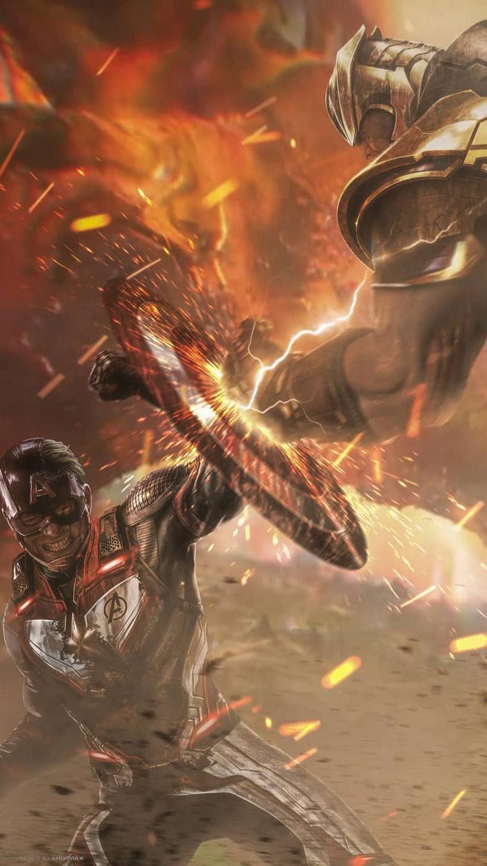 Thanos vs Captain iPhone Wallpaper