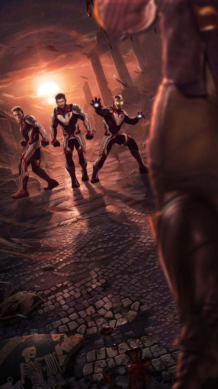 Thor Captain America Iron Man in Quantum Realm Suit Avengers Endgame iPhone Wallpaper