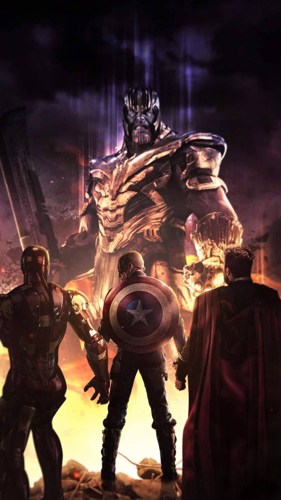 Thor Captain America Iron Man vs Thanos iPhone Wallpaper
