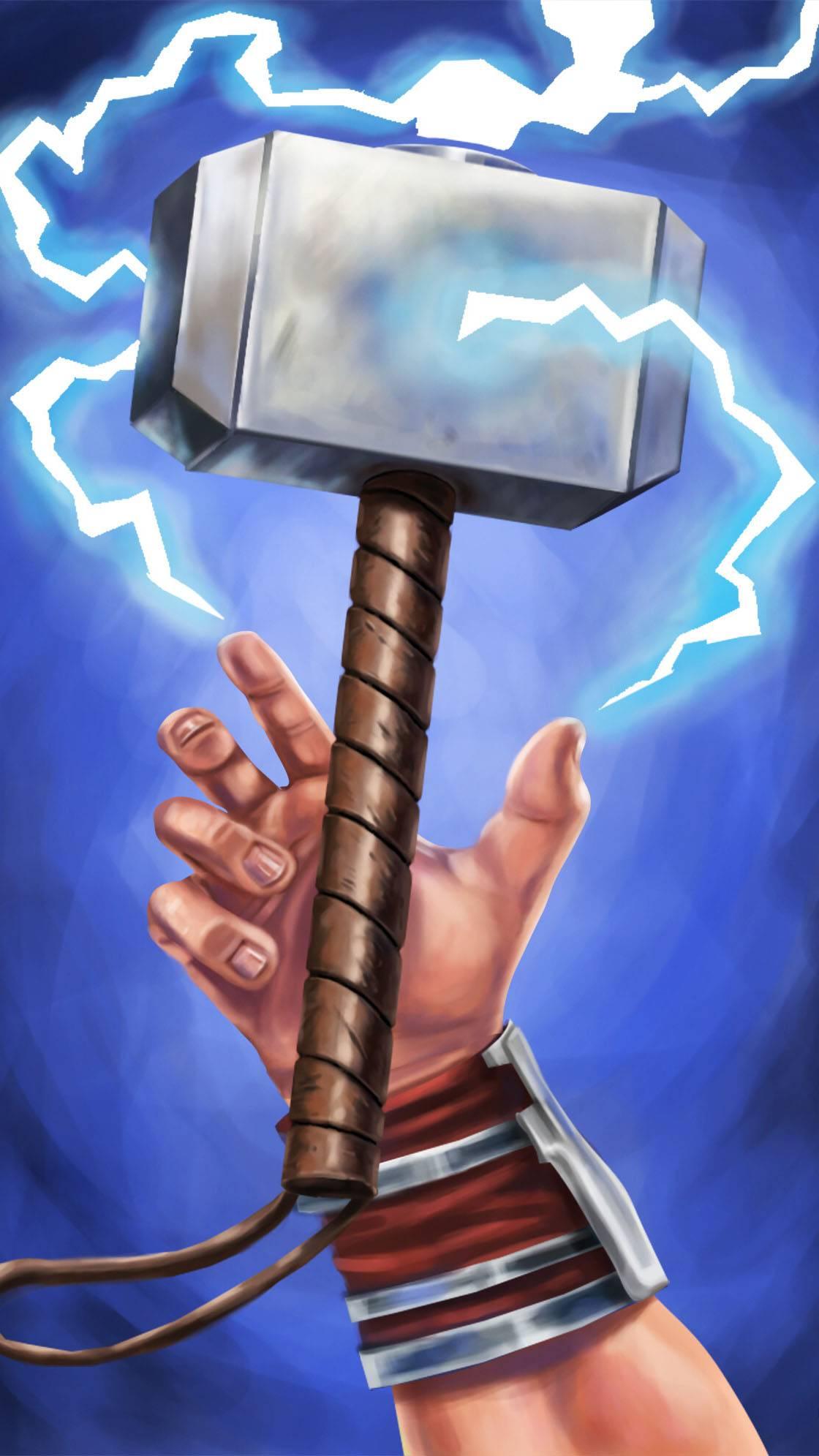Thor Catches Mjolnir iPhone Wallpaper