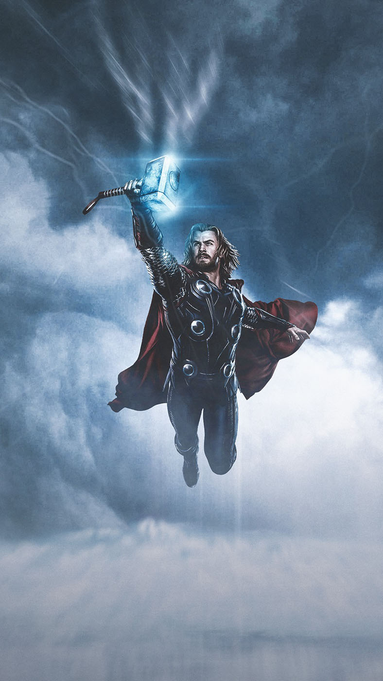 Thor Fly with Mjolnir iPhone Wallpaper