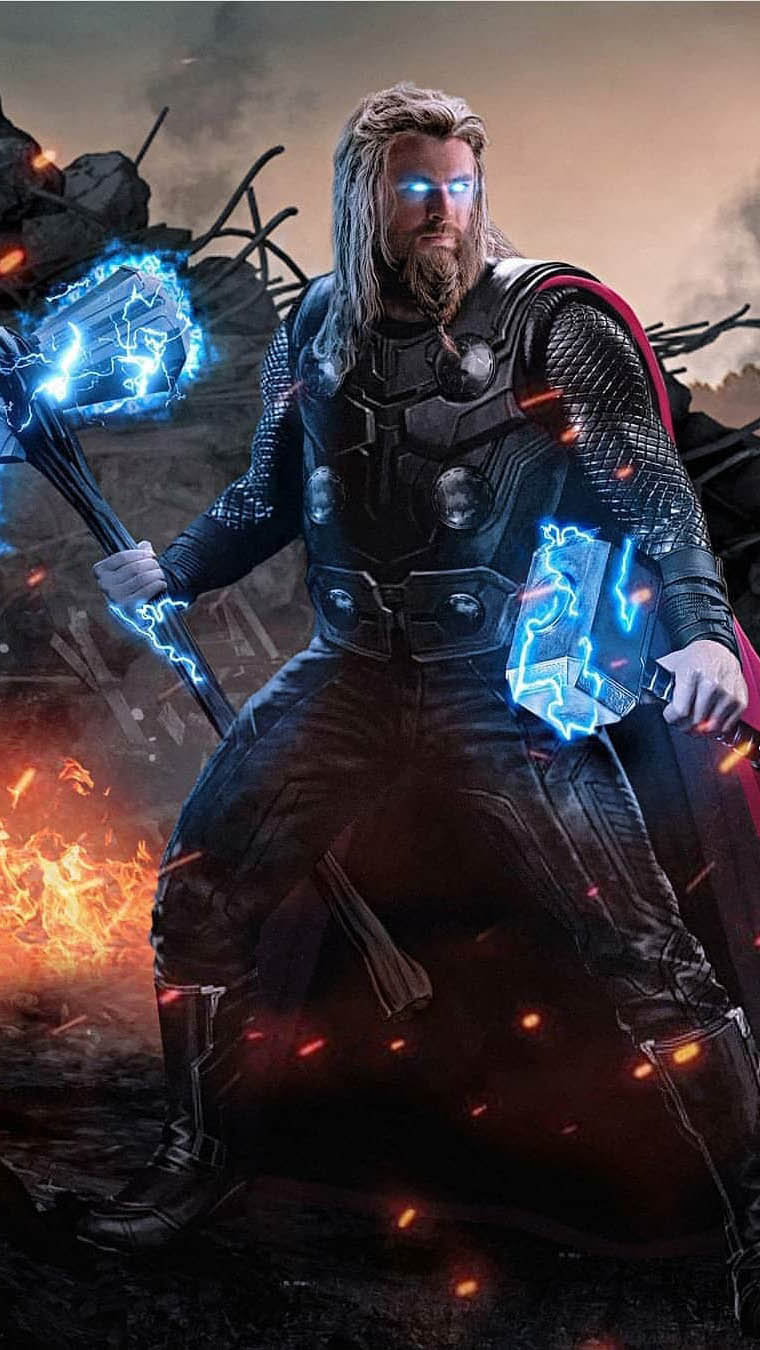 Thor with Mjolnir and Stormbreaker iPhone Wallpaper 1