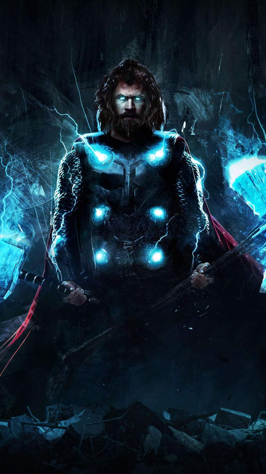 Thor with Mjolnir and Stormbreaker iPhone Wallpaper