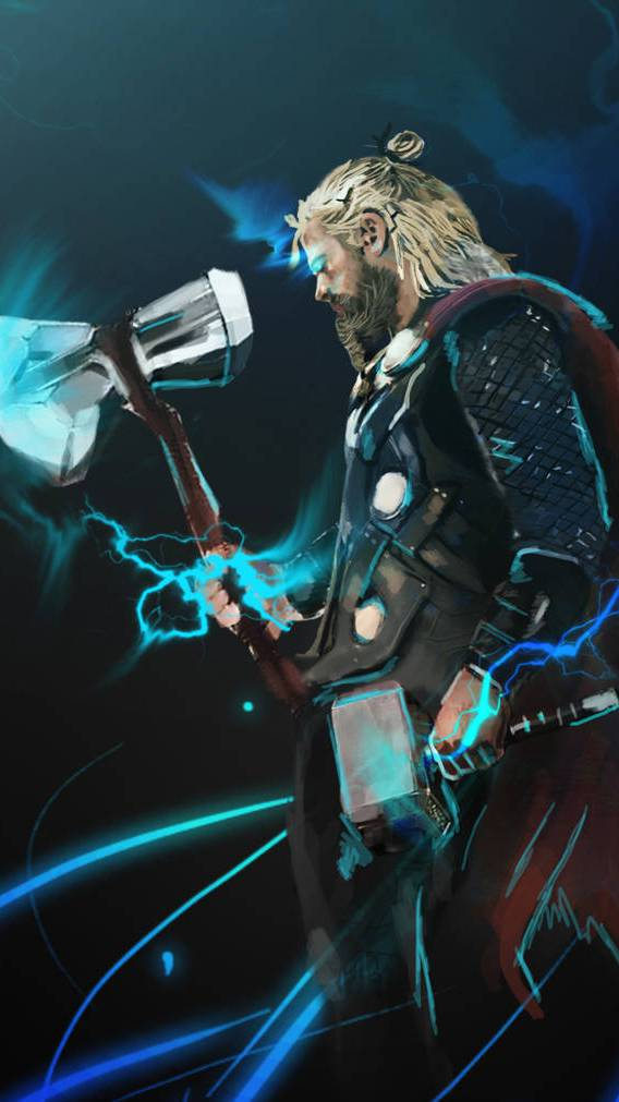 Thor with Stormebreaker and Mjolnir iPhone Wallpaper