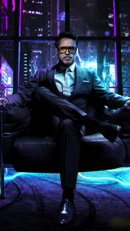 Tony Stark Cyberpunk 77 iPhone Wallpaper