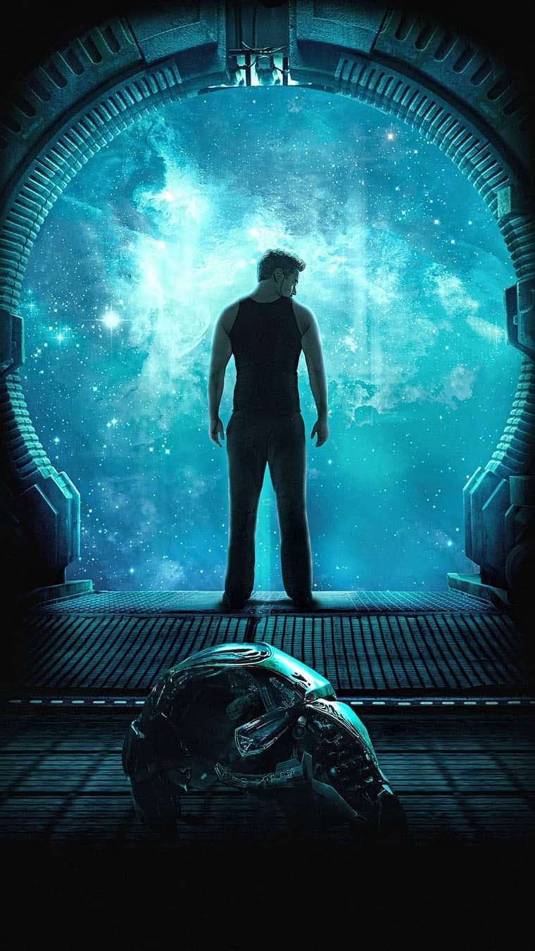 Tony Stark Drifting in Space iPhone Wallpaper
