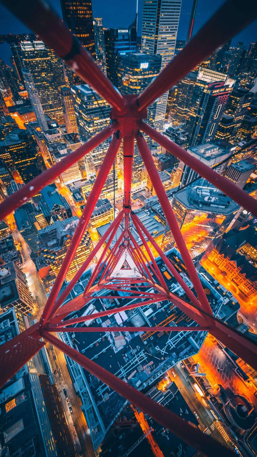 Tower Crane Night City View iPhone Wallpaper