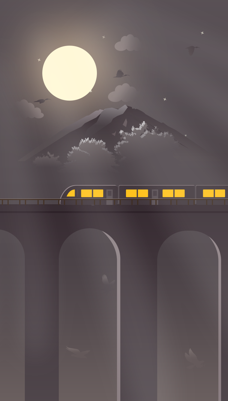 Train to Moon iPhone Wallpaper