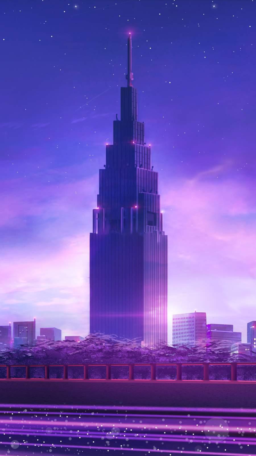 Anime World Skyscraper iPhone Wallpaper