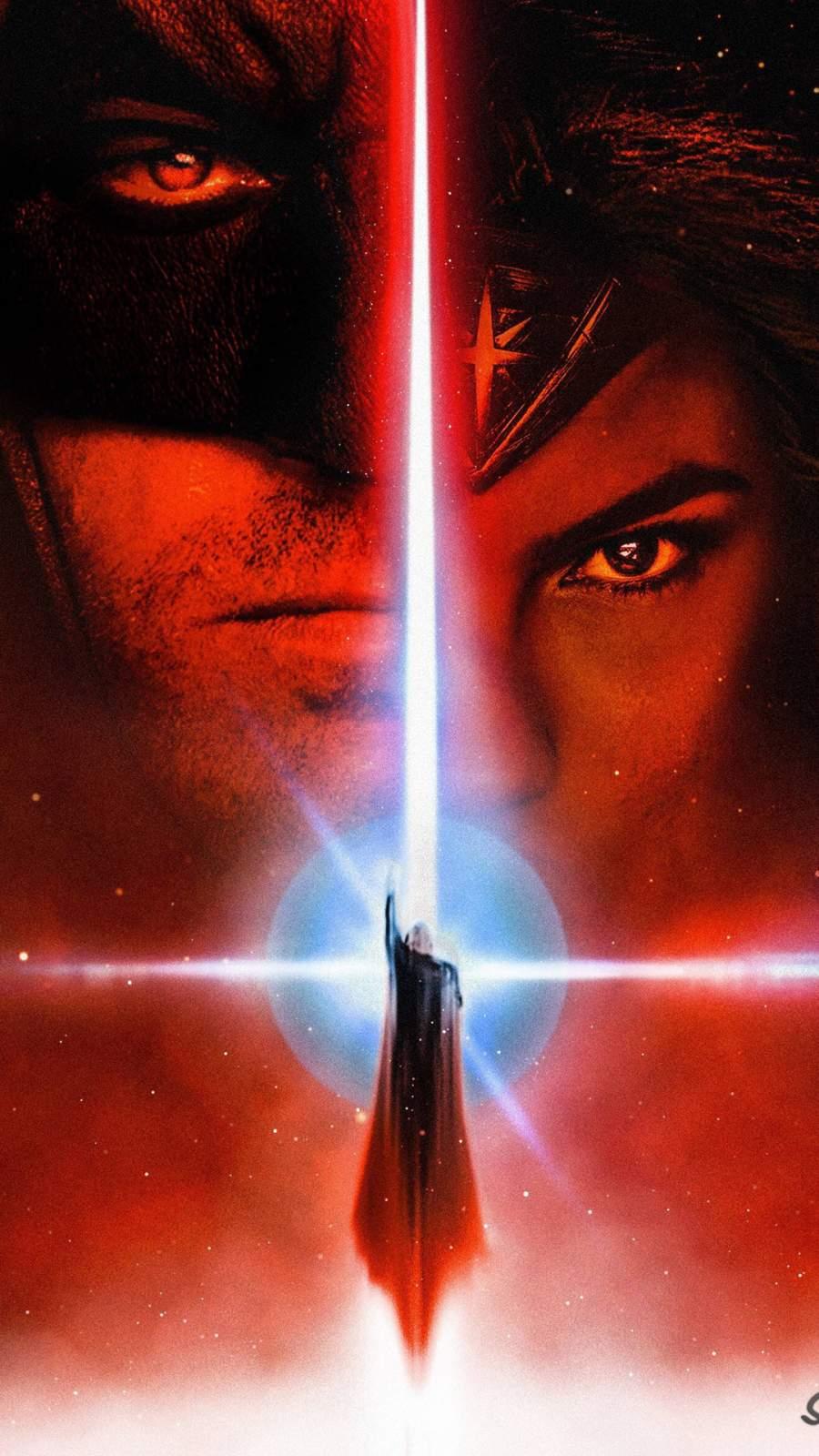 Batman Wonder Woman Star Wars Style Poster iPhone Wallpaper