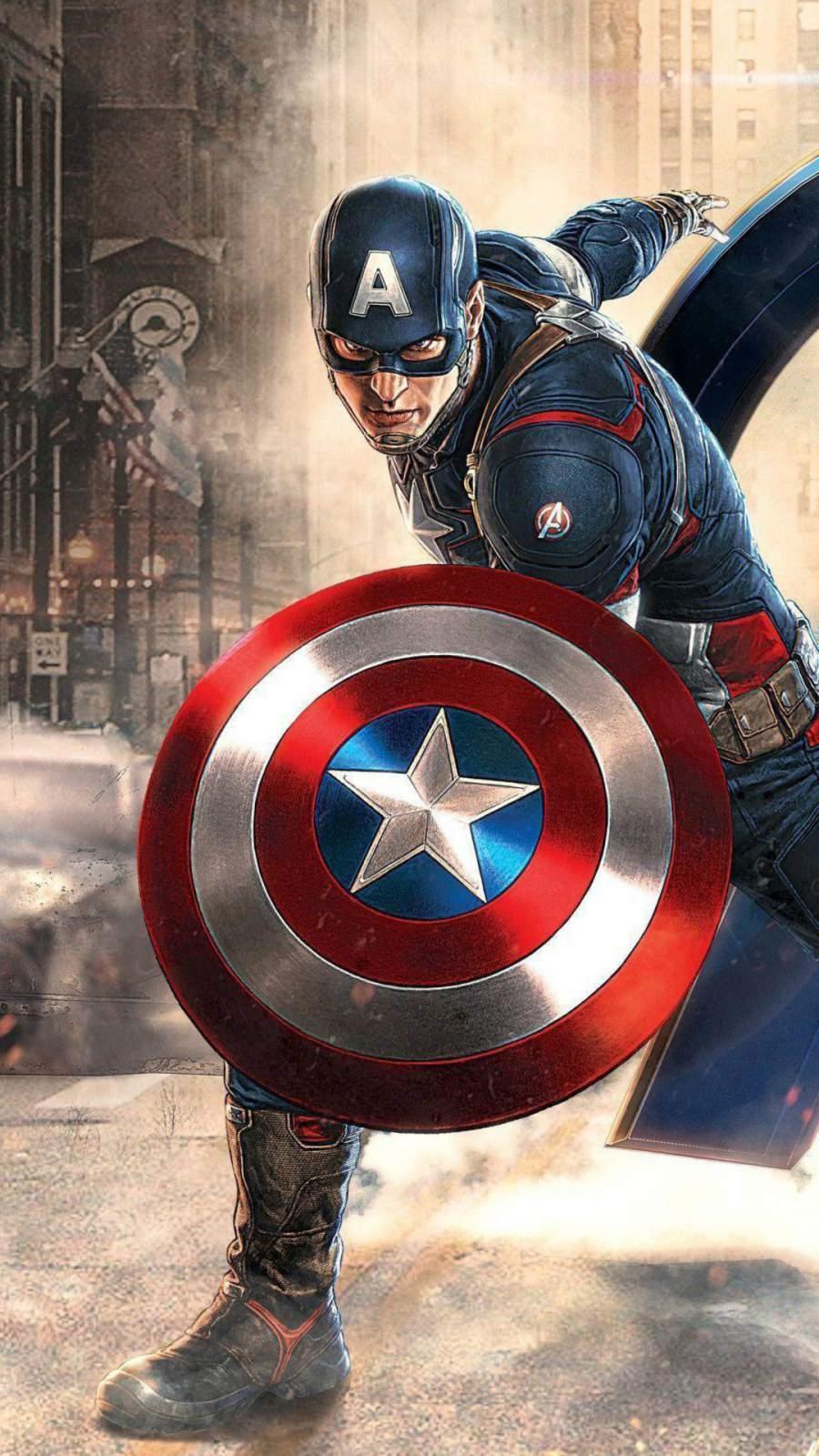 Captain America Avengers Artwork iPhone Wallpaper