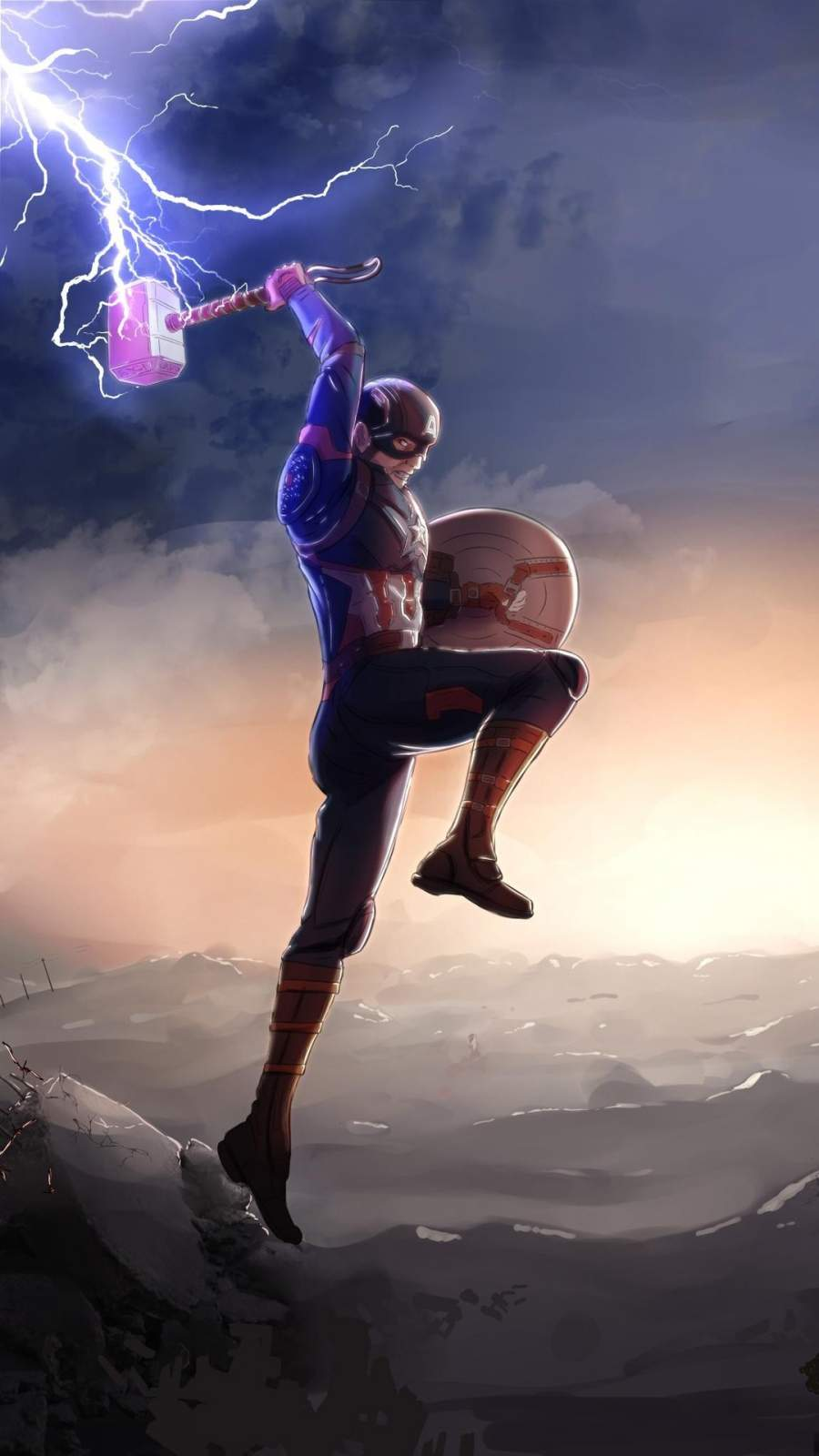 Captain America Fighting Thanos with Mjolnir iPhone Wallpaper