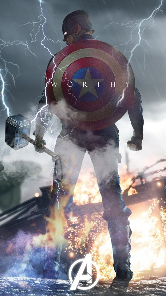 Captain Worthy with Thor Hammer iPhone Wallpaper