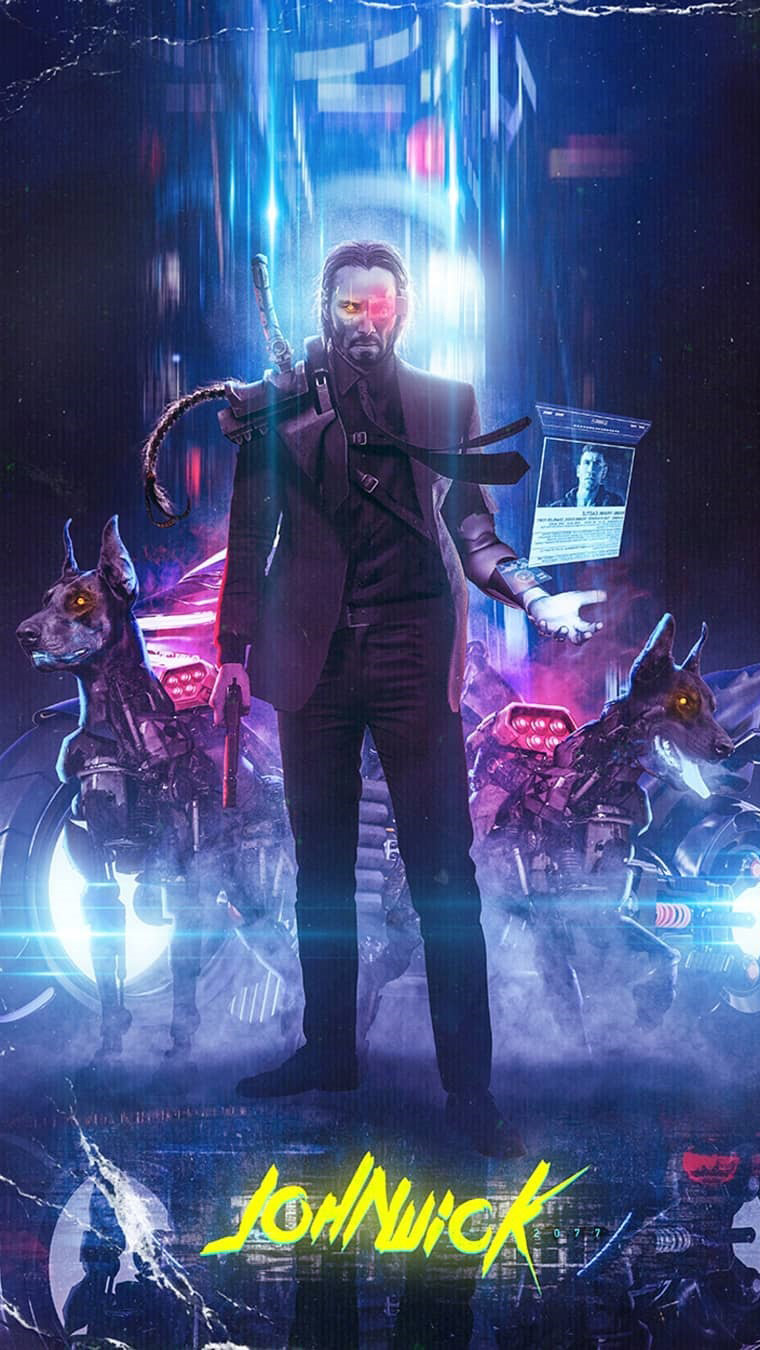 Cyberpunk John Wick iPhone Wallpaper