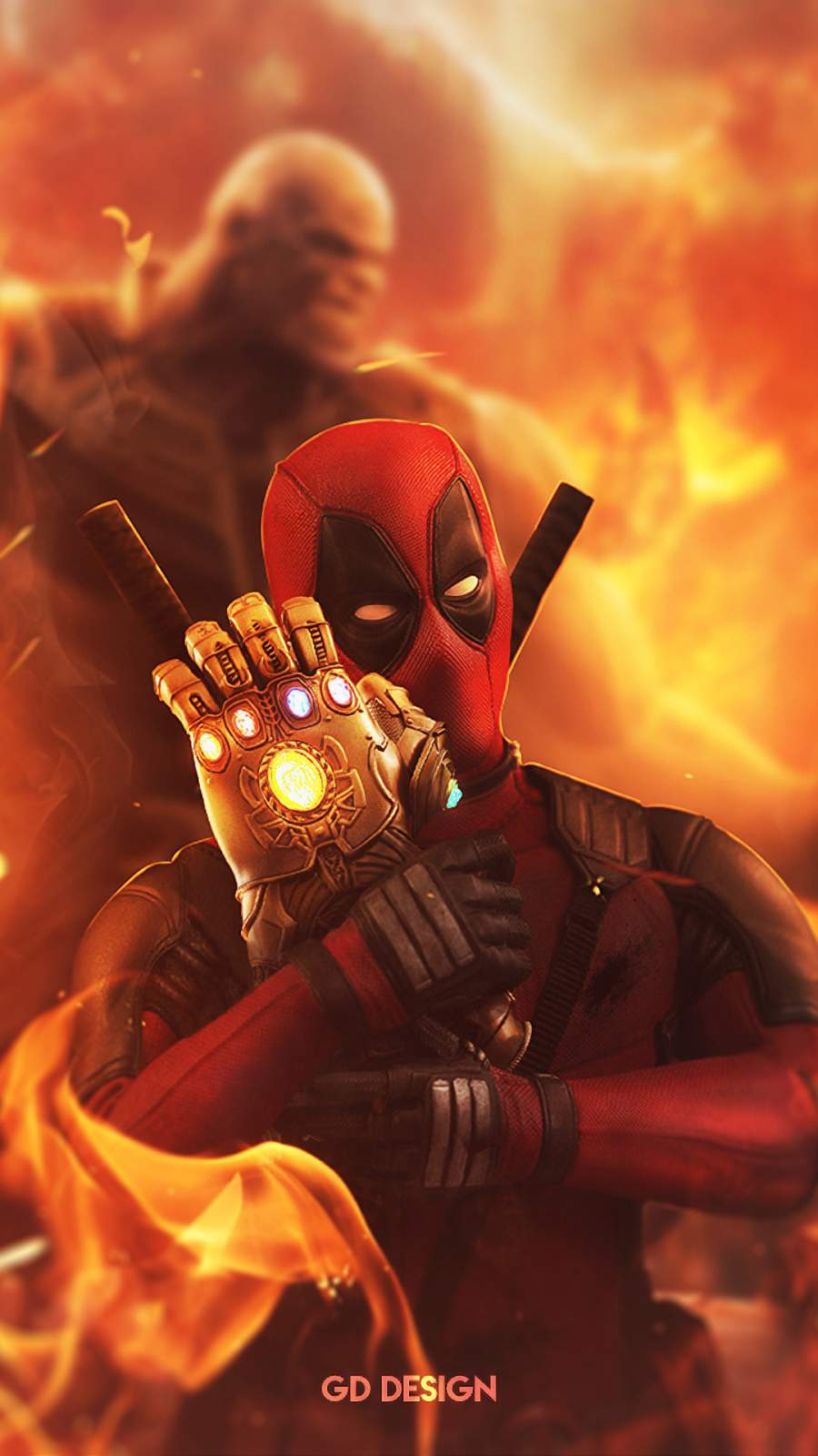 Deadpool Steal infinity gauntlet iPhone Wallpaper