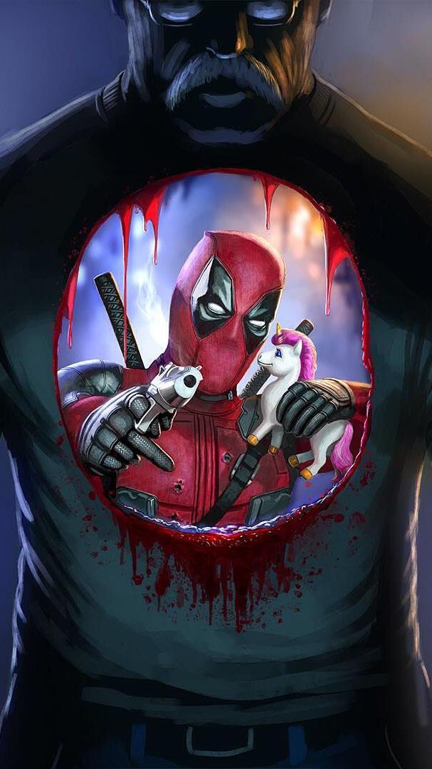 Deadpool and Unicorn iPhone Wallpaper
