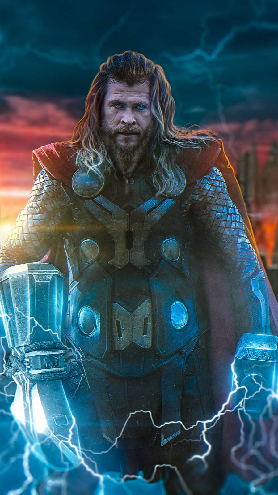Endgame Thor with Mjolnir and Stormbreaker iPhone Wallpaper