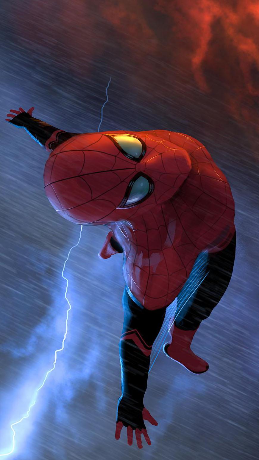 Flying Spiderman iPhone Wallpaper