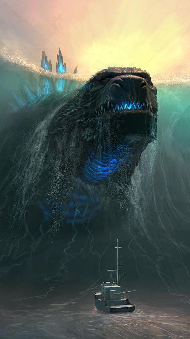 Godzilla Ocean iPhone Wallpaper