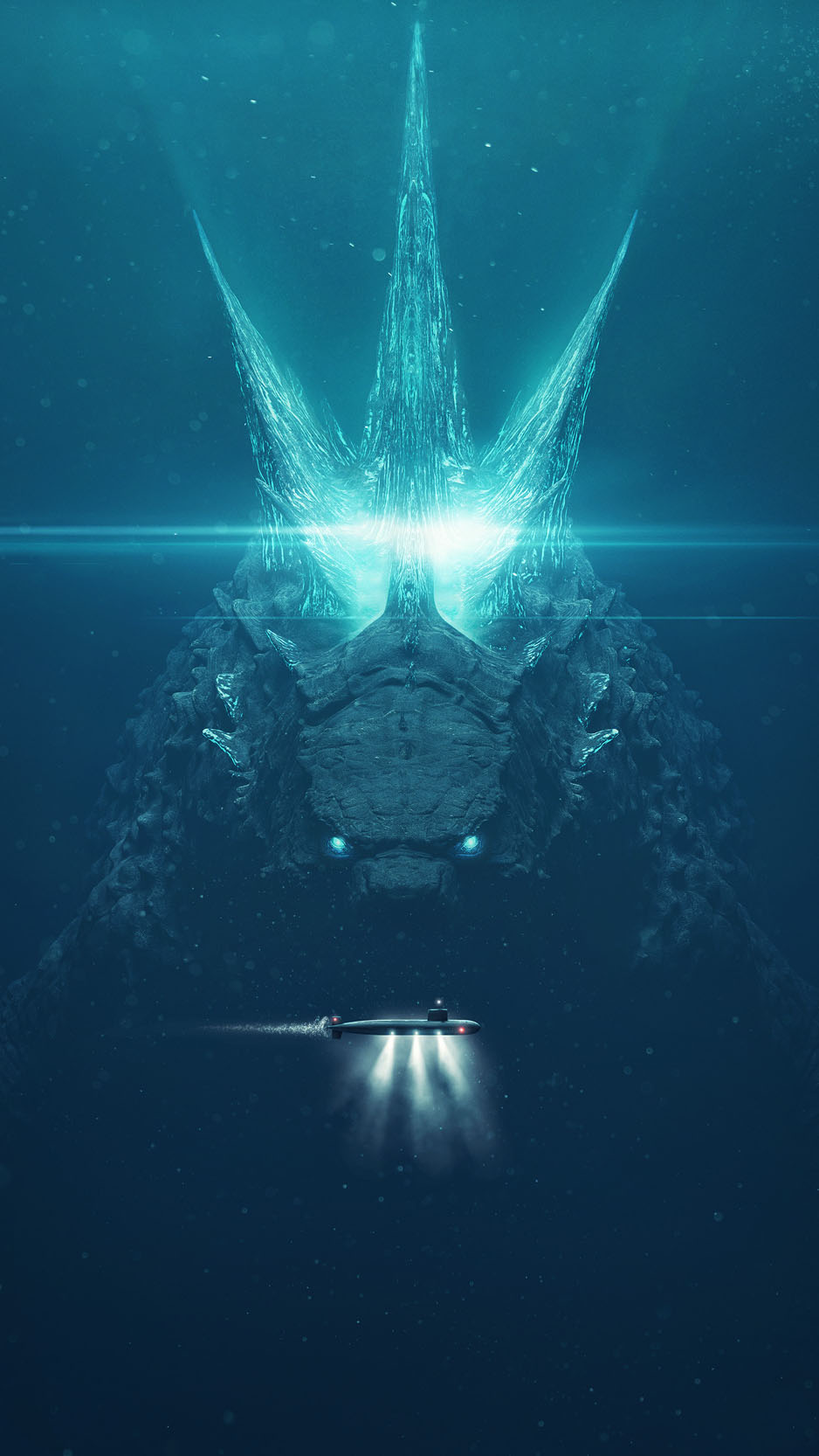 Godzilla vs Submarine iPhone Wallpaper