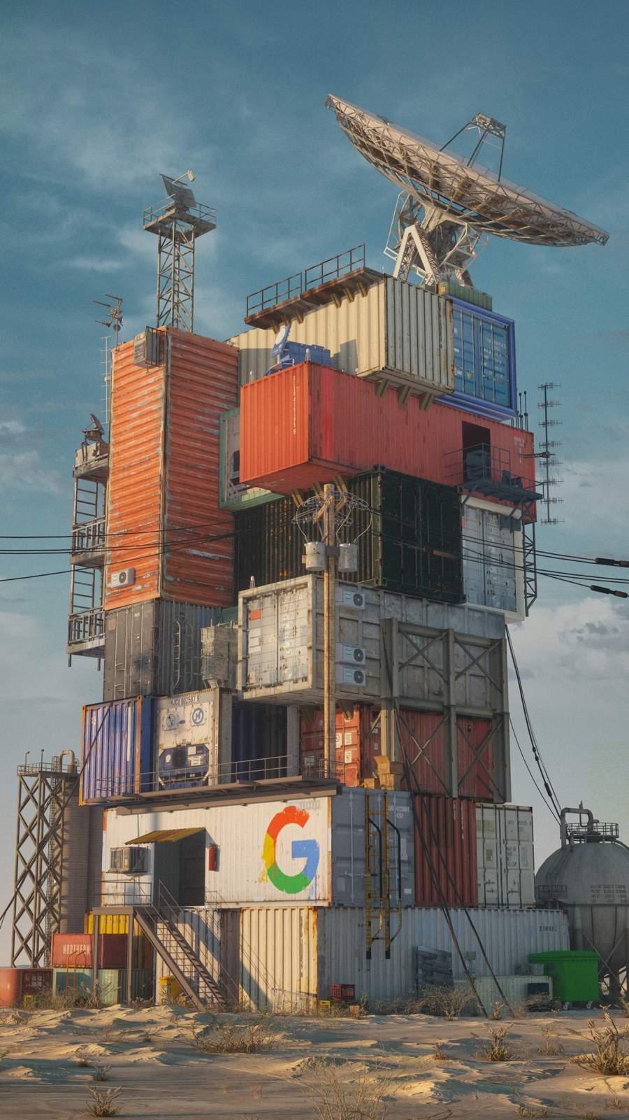 Google Data Center 2049 iPhone Wallpaper