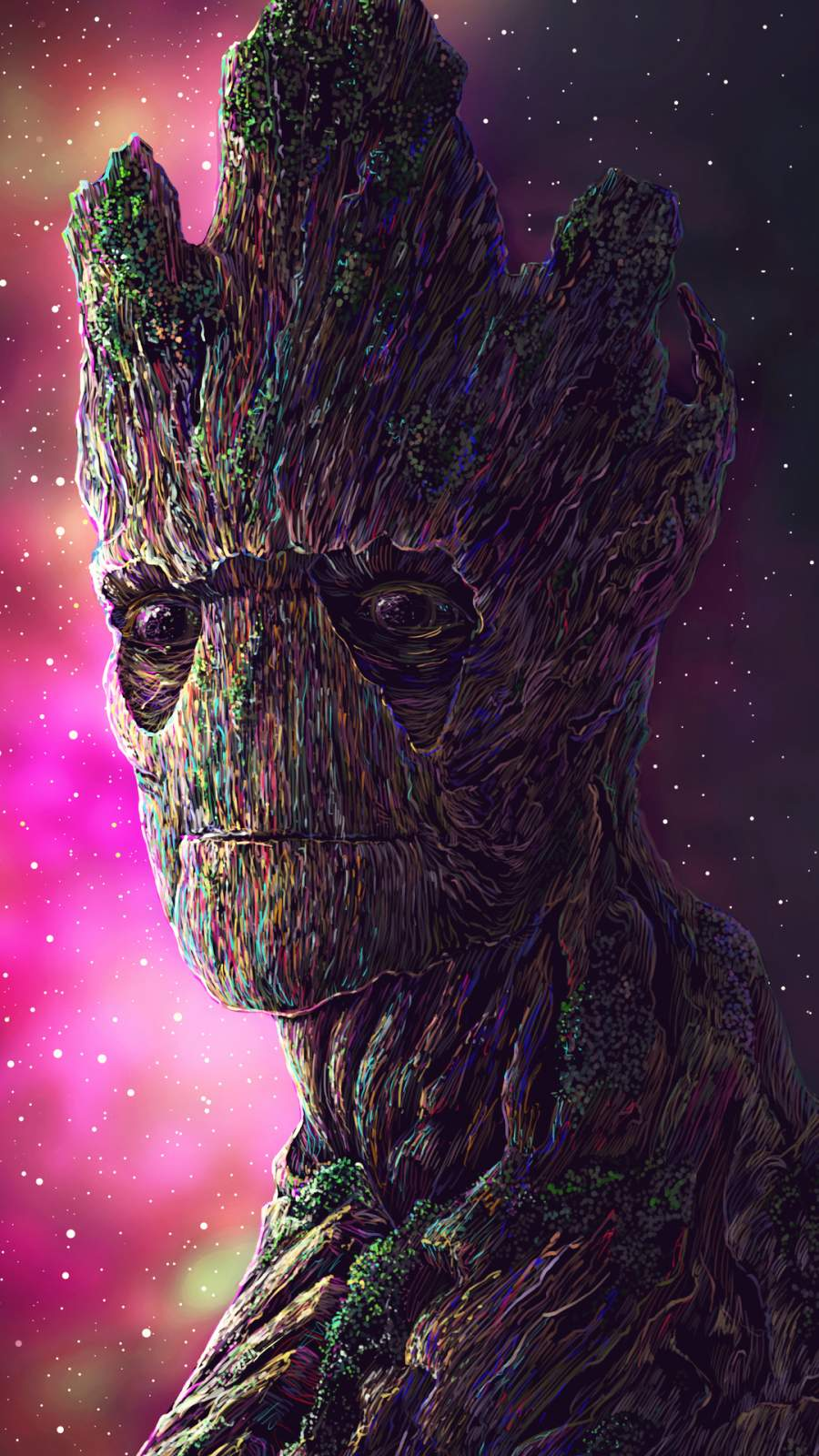 Groot Digital Art iPhone Wallpaper