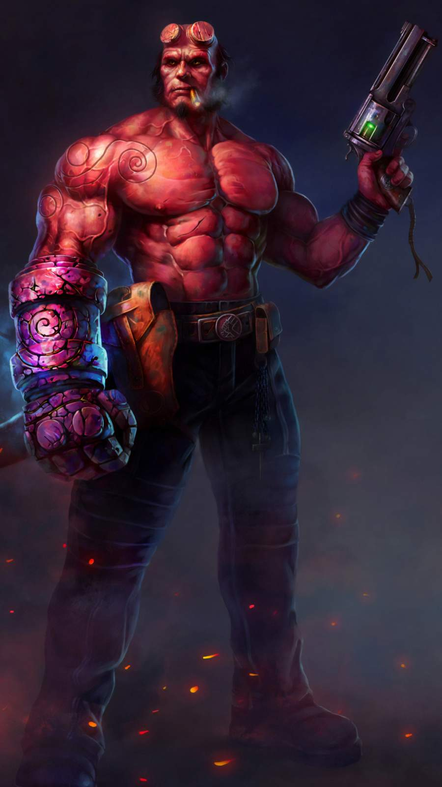 Hellboy with Gun iPhone Wallpaper