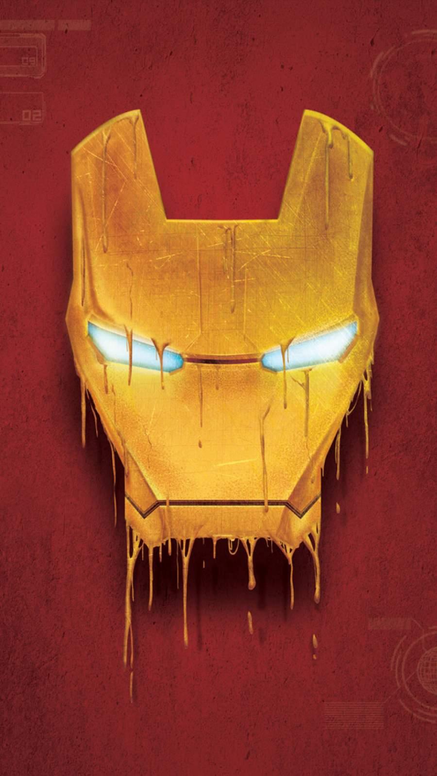 Iron Man Mask Melting iPhone Wallpaper