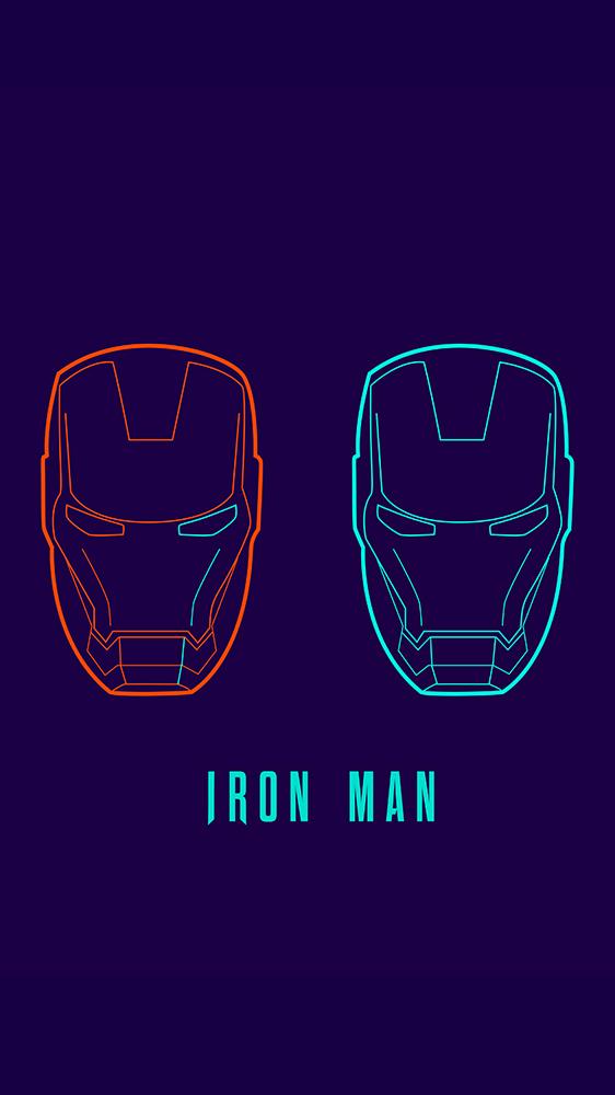 Iron Man Minimal Neon Art iPhone Wallpaper