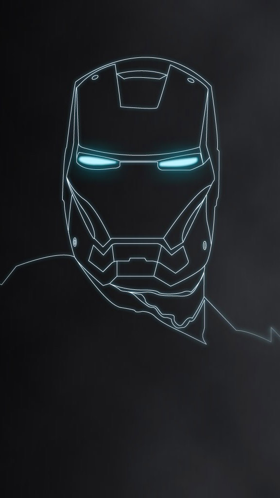 Iron Man Neon Art iPhone Wallpaper