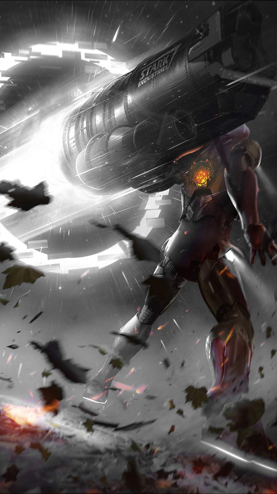 Iron Man using Proton Gun iPhone Wallpaper