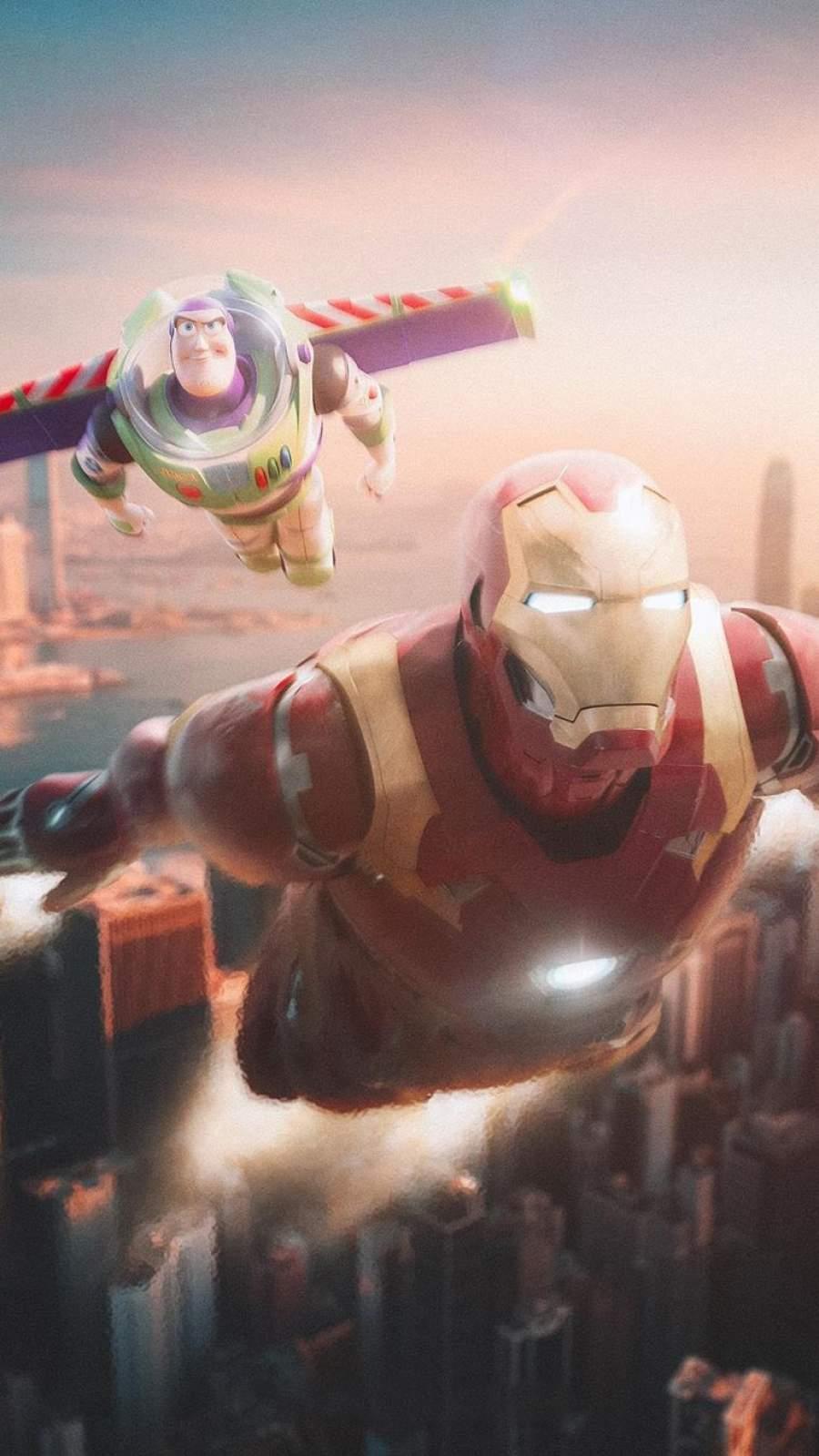 Iron Man with Buzz Lightyear iPhone Wallpaper
