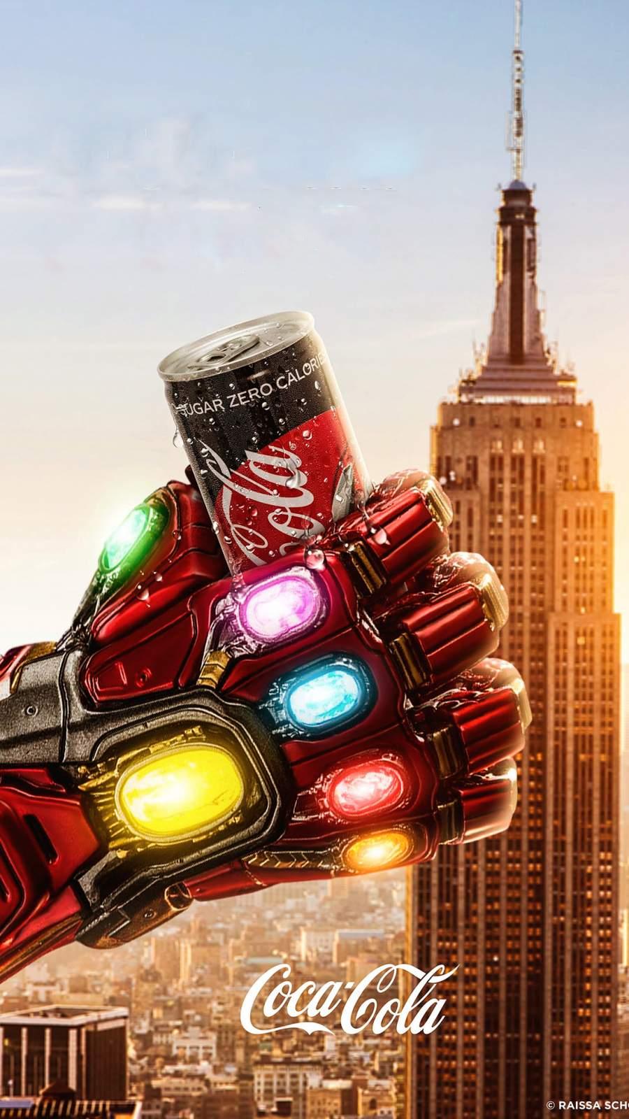 Iron Mans Infinity Gauntlet Coke iPhone Wallpaper