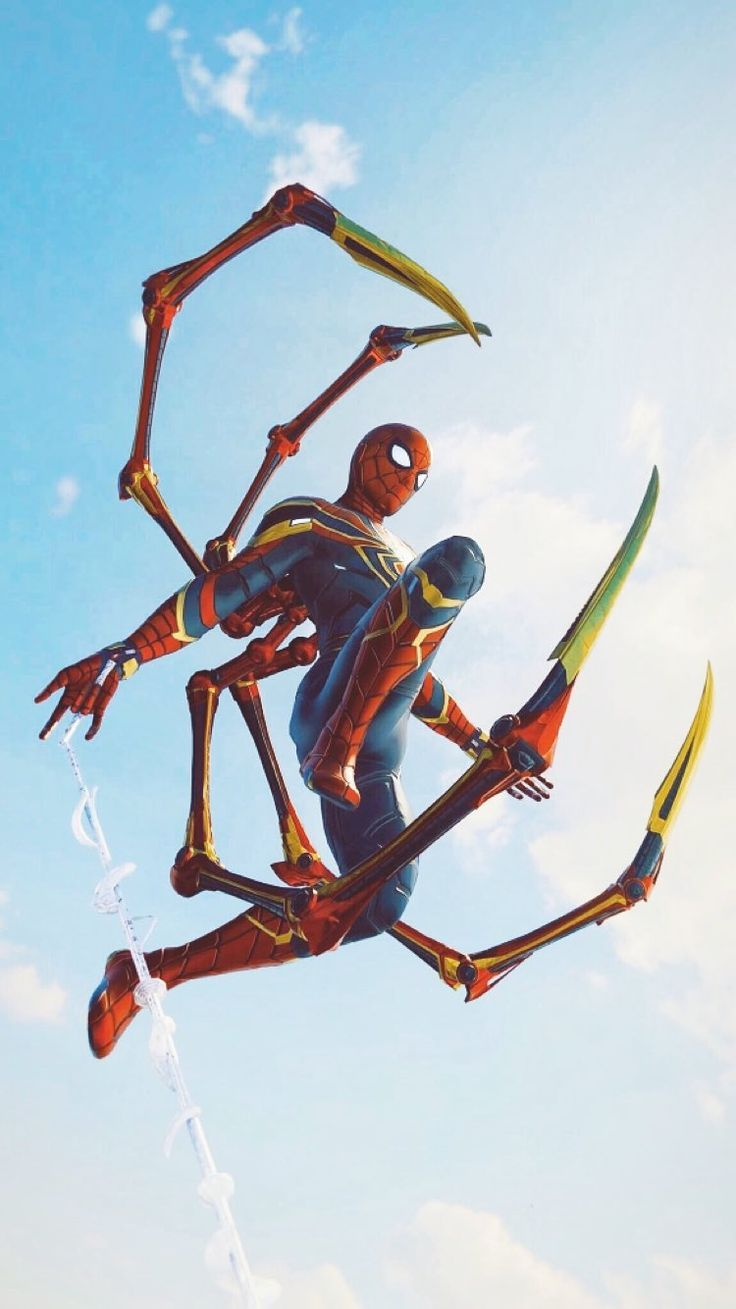 Iron Spider in Air iPhone Wallpaper