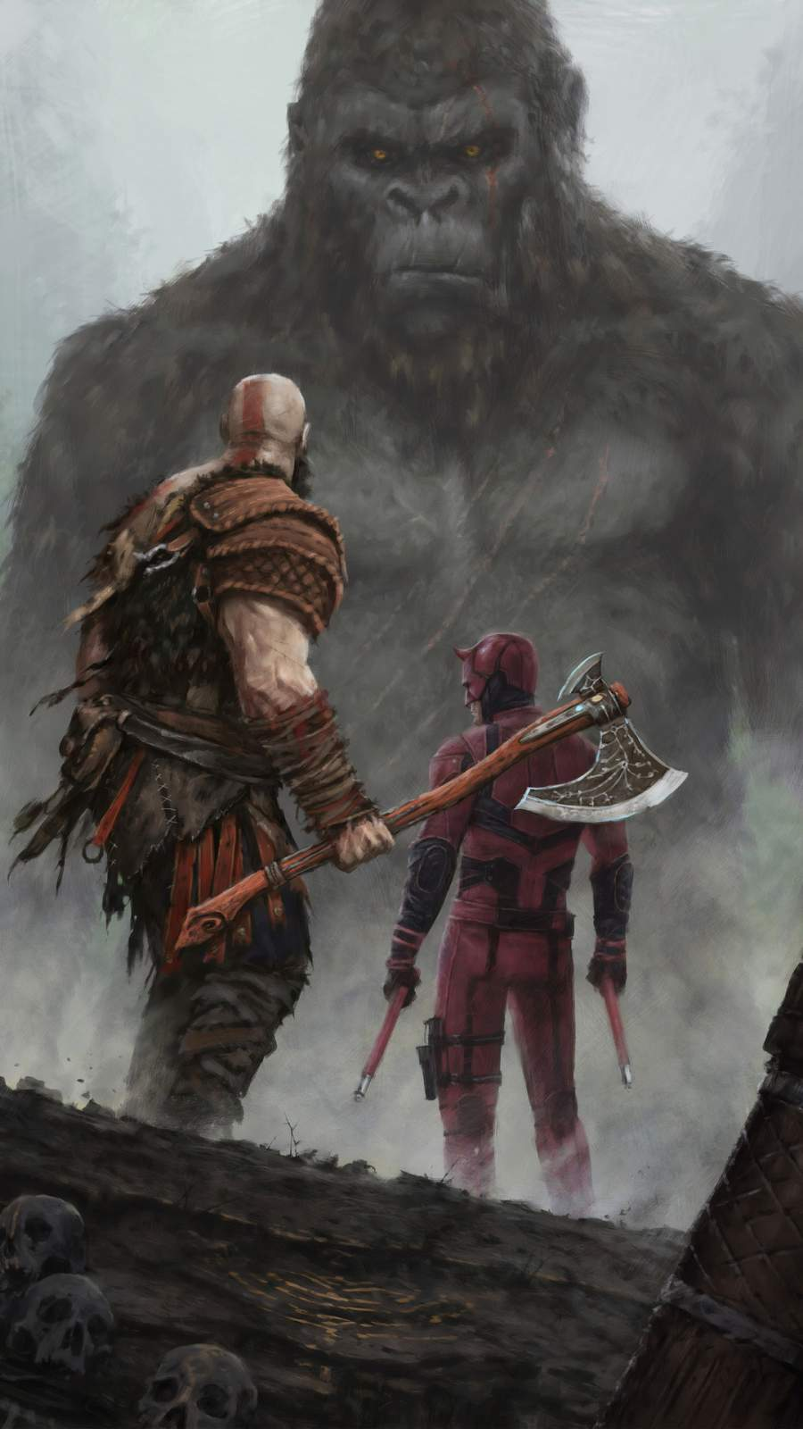 Kratos and Dare Devil vs King Kong iPhone Wallpaper