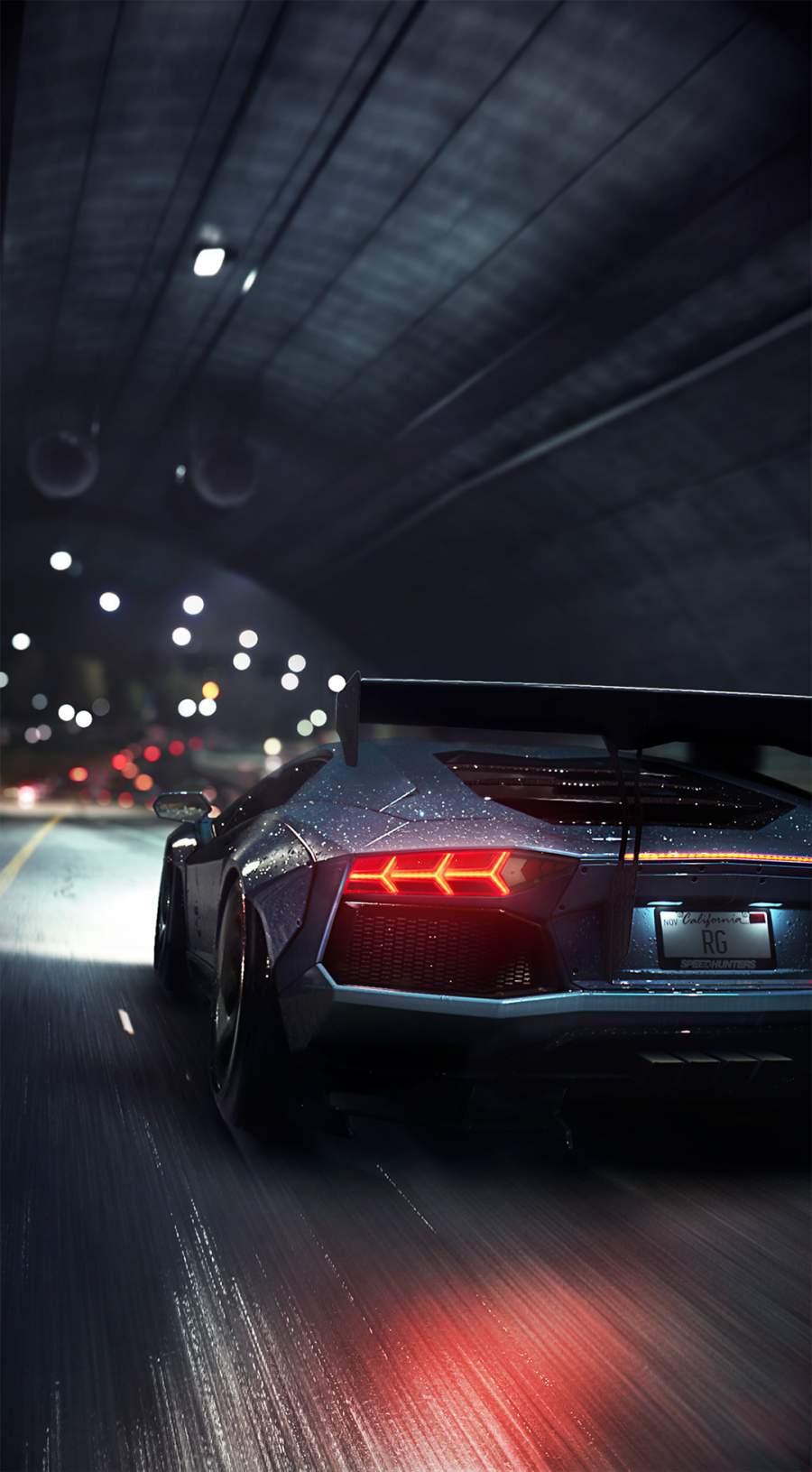 Lamborghini Night Ride iPhone Wallpaper