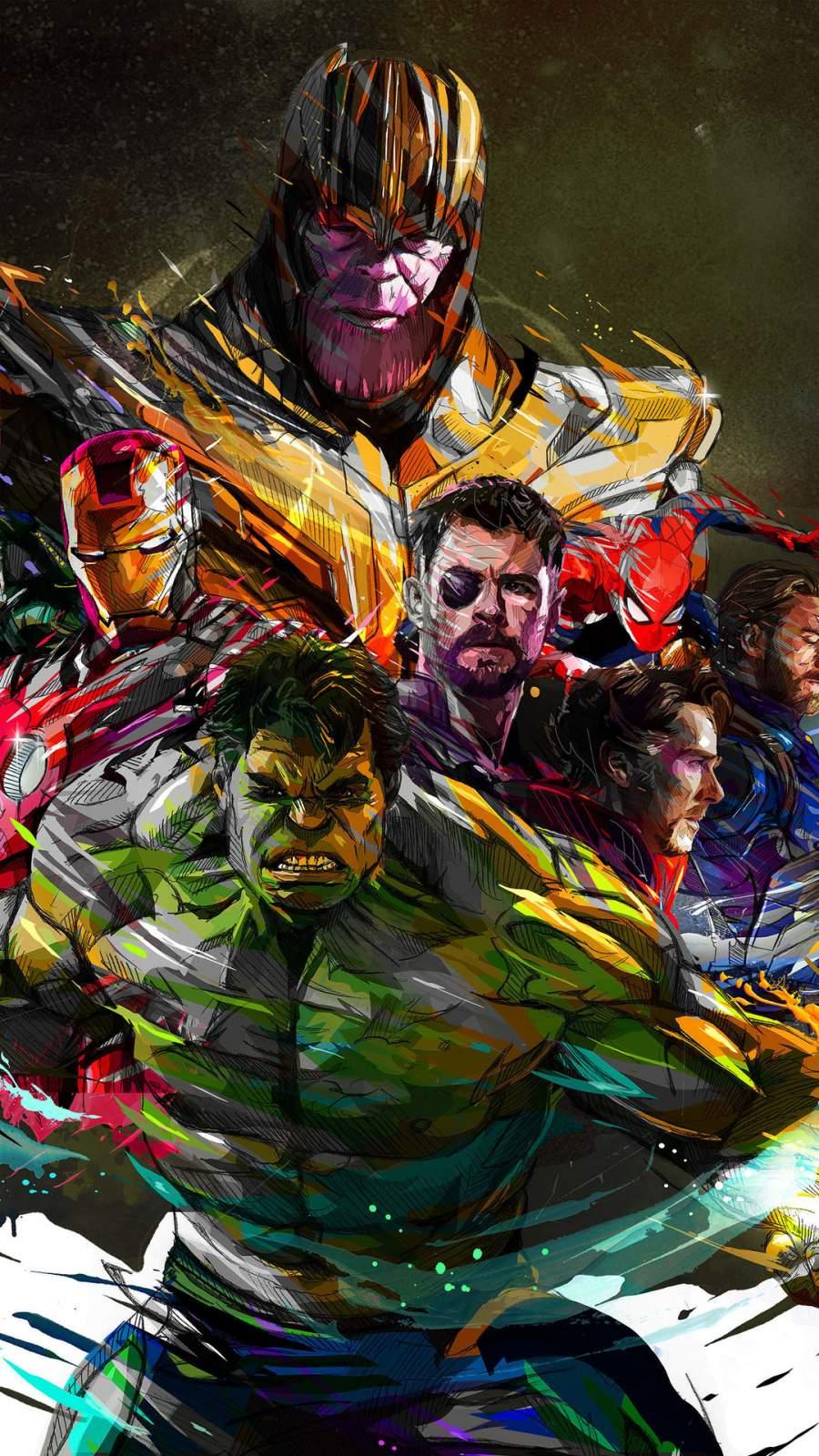 Marvel Avengers Art Poster iPhone Wallpaper