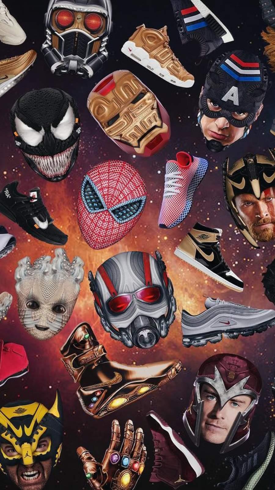 Marvel Heroes Sneakers iPhone Wallpaper