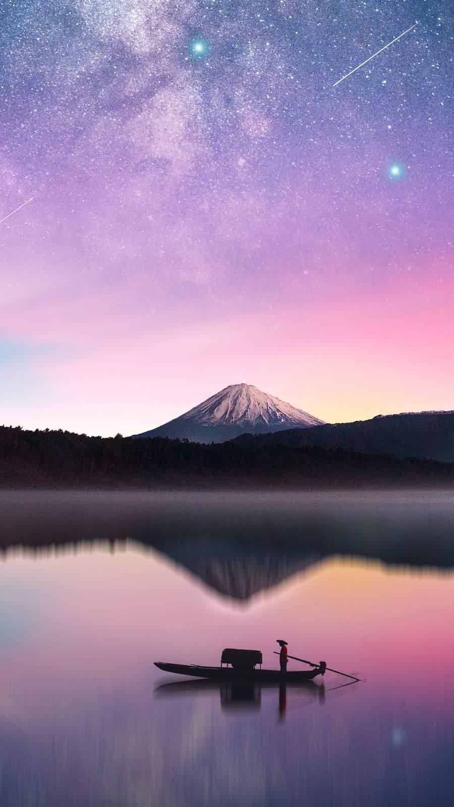 Milky Way Mount Fuji iPhone Wallpaper