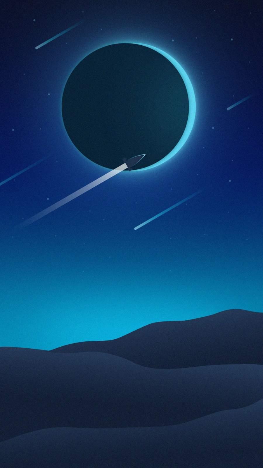 Moon Eclipse Minimalist iPhone Wallpaper