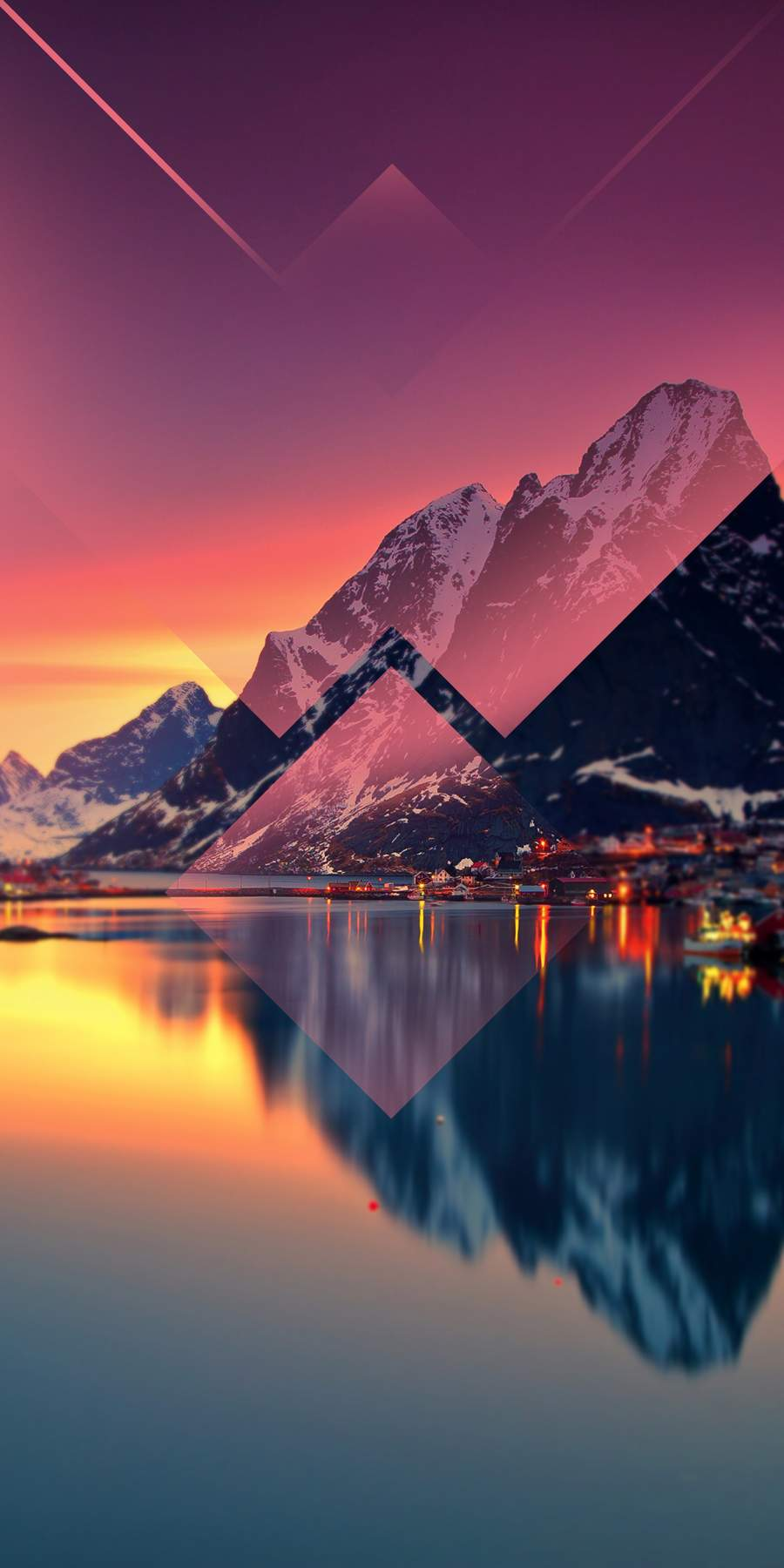Mountain Lake Reflection Sunset iPhone Wallpaper