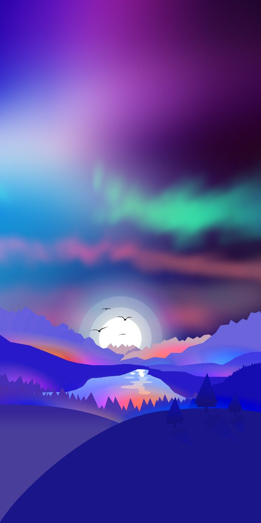 Nature Sky Northern Lights Art iPhone Wallpaper