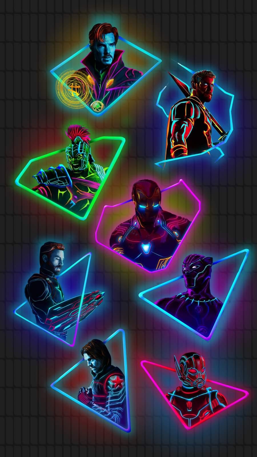 Neon Avengers iPhone Wallpaper